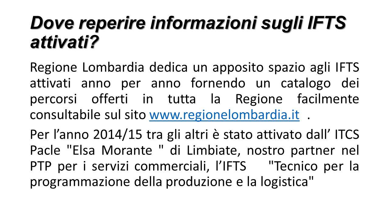 Dove reperire informazioni sugli IFTS attivati? Regione Lombardia dedica un apposito spazio agli IFTS attivati anno per anno fornendo un catalogo dei
