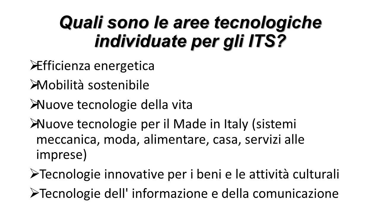 Quali sono le aree tecnologiche individuate per gli ITS?  Efficienza energetica  Mobilità sostenibile  Nuove tecnologie della vita  Nuove tecnolog