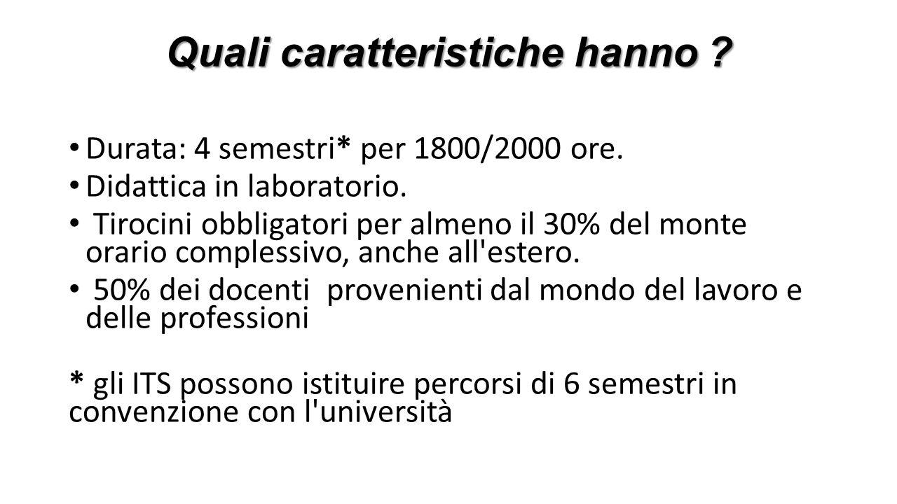 Quali caratteristiche hanno ? Durata: 4 semestri* per 1800/2000 ore. Didattica in laboratorio. Tirocini obbligatori per almeno il 30% del monte orario