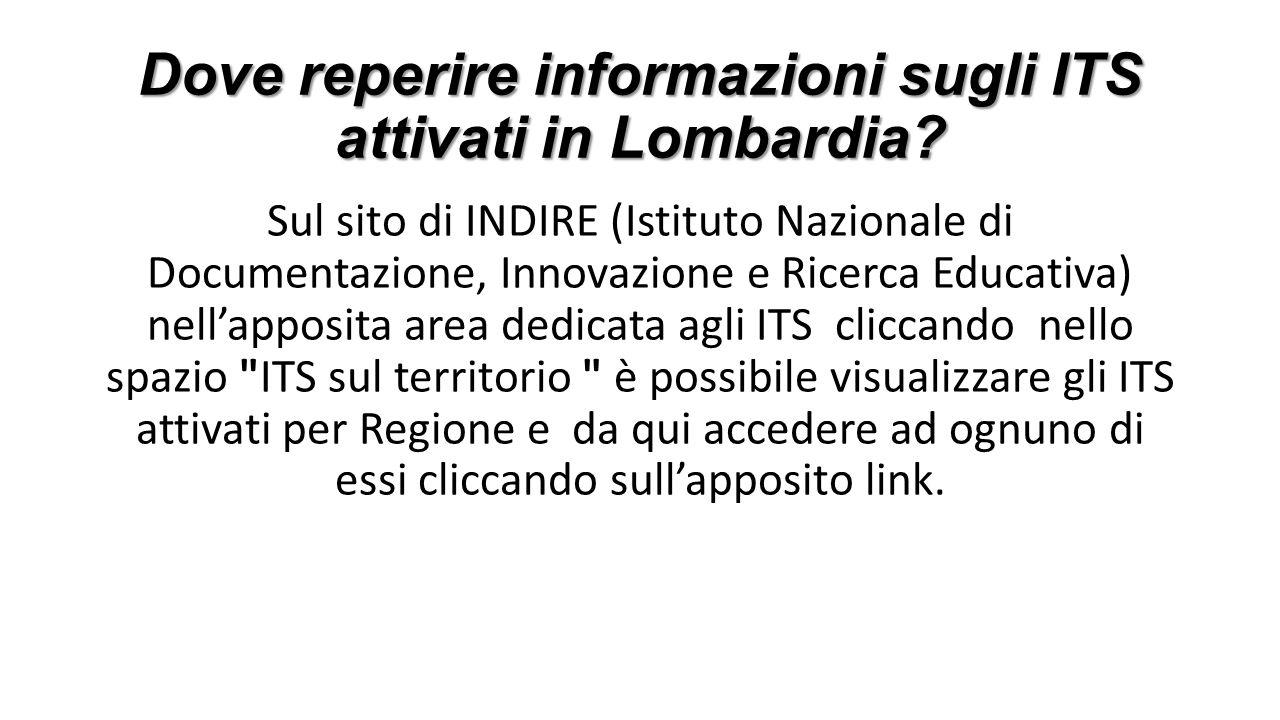 Dove reperire informazioni sugli ITS attivati in Lombardia? Sul sito di INDIRE (Istituto Nazionale di Documentazione, Innovazione e Ricerca Educativa)