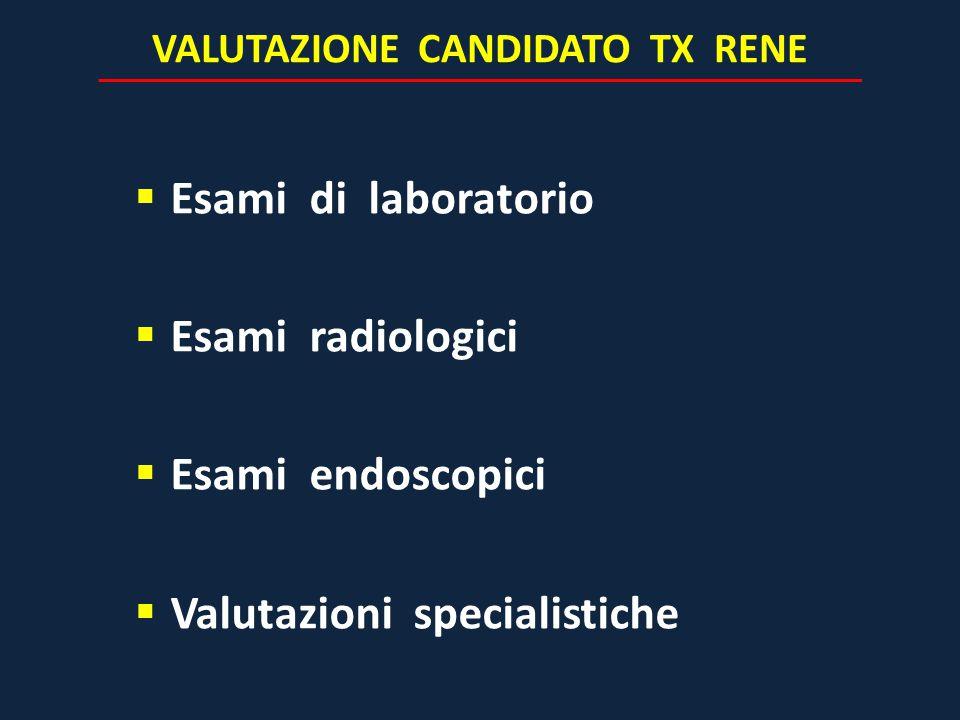 VALUTAZIONE CANDIDATO TX RENE  Esami di laboratorio  Esami radiologici  Esami endoscopici  Valutazioni specialistiche
