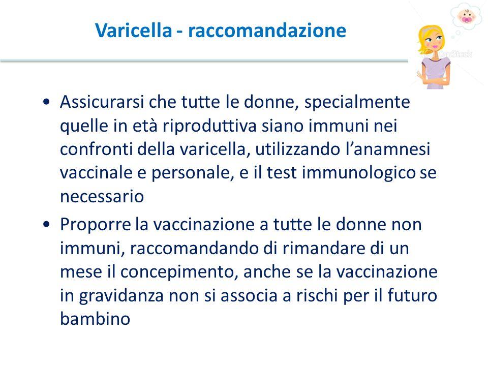 Varicella - raccomandazione Assicurarsi che tutte le donne, specialmente quelle in età riproduttiva siano immuni nei confronti della varicella, utilizzando l'anamnesi vaccinale e personale, e il test immunologico se necessario Proporre la vaccinazione a tutte le donne non immuni, raccomandando di rimandare di un mese il concepimento, anche se la vaccinazione in gravidanza non si associa a rischi per il futuro bambino
