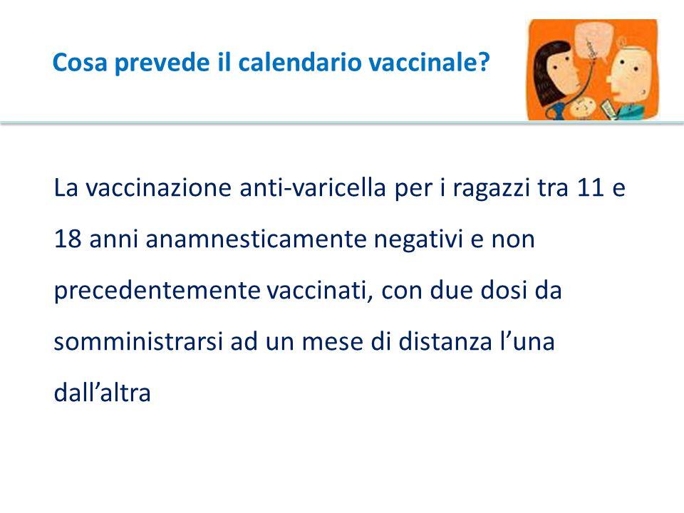 La vaccinazione anti-varicella per i ragazzi tra 11 e 18 anni anamnesticamente negativi e non precedentemente vaccinati, con due dosi da somministrarsi ad un mese di distanza l'una dall'altra Cosa prevede il calendario vaccinale?