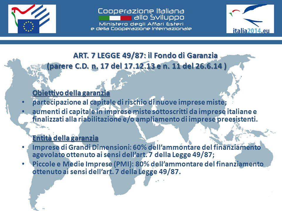 ART. 7 LEGGE 49/87: il Fondo di Garanzia (parere C.D. n. 17 del 17.12.13 e n. 11 del 26.6.14 ) Obiettivo della garanzia partecipazione al capitale di