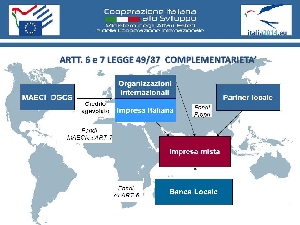 ARTT. 6 e 7 LEGGE 49/87 COMPLEMENTARIETA' MAECI- DGCS Organizzazioni Internazionali Partner locale Impresa mista Credito agevolato Fondi Propri Impres