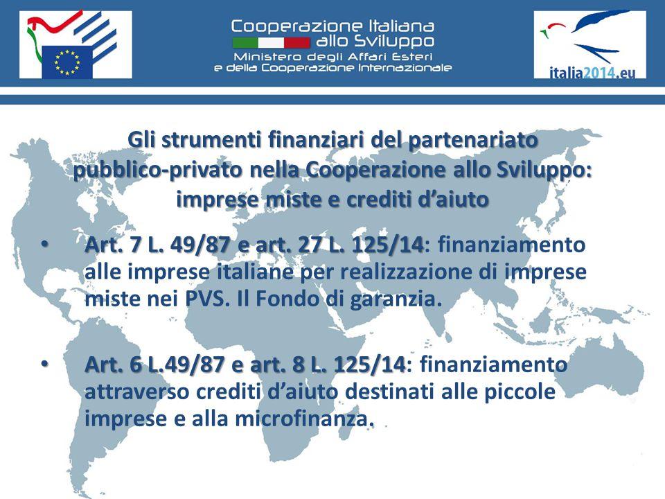 Gli strumenti finanziari del partenariato pubblico-privato nella Cooperazione allo Sviluppo: imprese miste e crediti d'aiuto Art. 7 L. 49/87 e art. 27