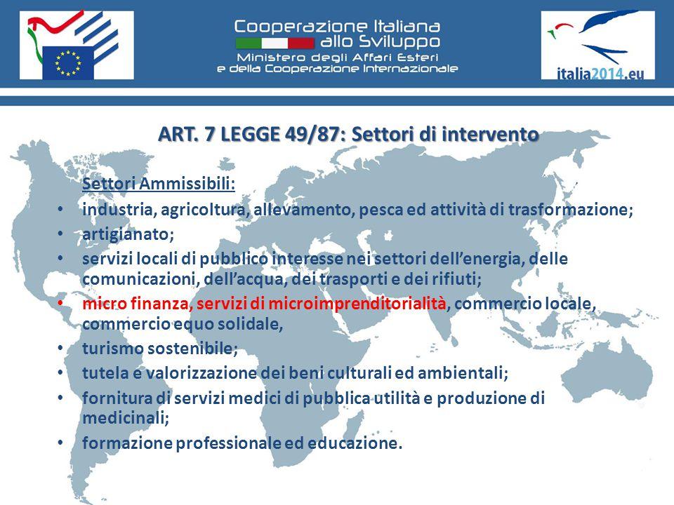 ART. 7 LEGGE 49/87: Settori di intervento Settori Ammissibili: industria, agricoltura, allevamento, pesca ed attività di trasformazione; artigianato;