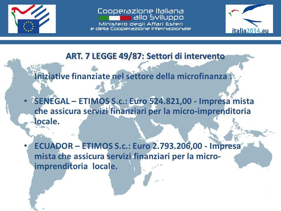 ART. 7 LEGGE 49/87: Settori di intervento Iniziative finanziate nel settore della microfinanza : SENEGAL – ETIMOS S.c.: Euro 524.821,00 - Impresa mist