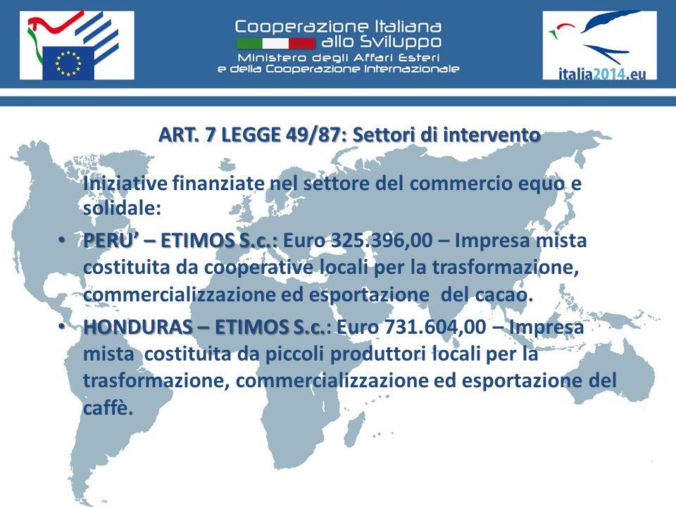 ART. 7 LEGGE 49/87: Settori di intervento Iniziative finanziate nel settore del commercio equo e solidale: PERU' – ETIMOS S.c.: PERU' – ETIMOS S.c.: E