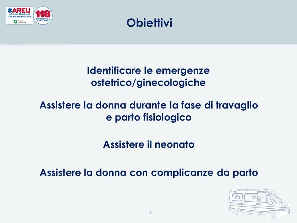 Identificare le emergenze ostetrico/ginecologiche Assistere la donna durante la fase di travaglio e parto fisiologico Assistere il neonato Assistere la donna con complicanze da parto 2 Obiettivi