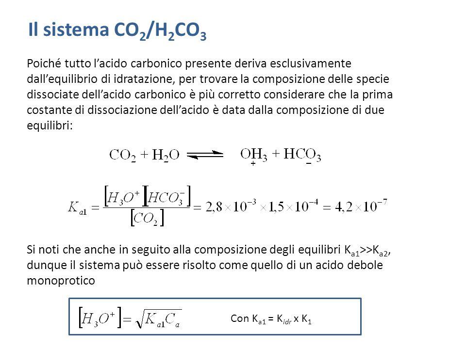 Poiché tutto l'acido carbonico presente deriva esclusivamente dall'equilibrio di idratazione, per trovare la composizione delle specie dissociate dell'acido carbonico è più corretto considerare che la prima costante di dissociazione dell'acido è data dalla composizione di due equilibri: Si noti che anche in seguito alla composizione degli equilibri K a1 >>K a2, dunque il sistema può essere risolto come quello di un acido debole monoprotico Il sistema CO 2 /H 2 CO 3 Con K a1 = K idr x K 1