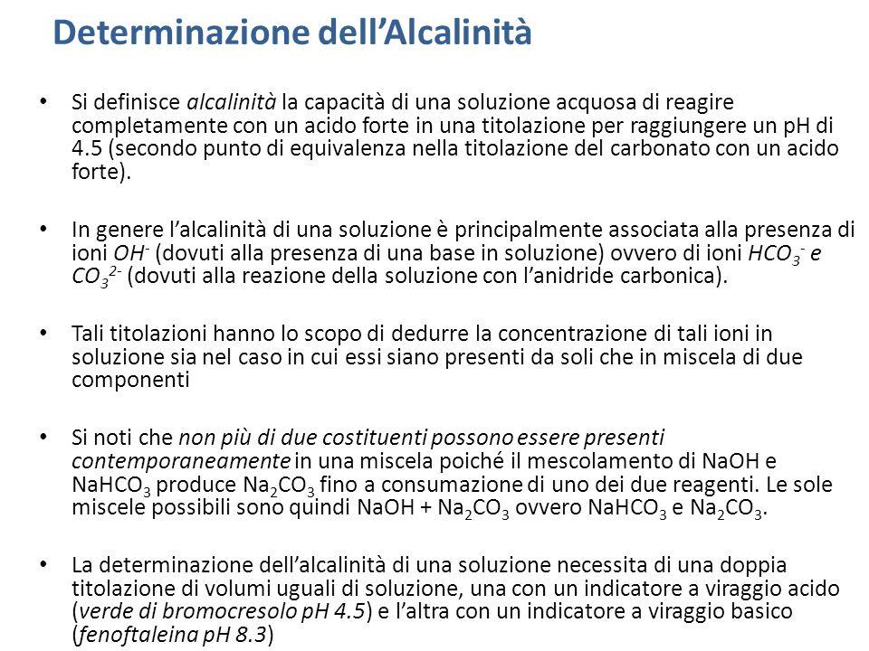 Determinazione dell'Alcalinità Si definisce alcalinità la capacità di una soluzione acquosa di reagire completamente con un acido forte in una titolazione per raggiungere un pH di 4.5 (secondo punto di equivalenza nella titolazione del carbonato con un acido forte).