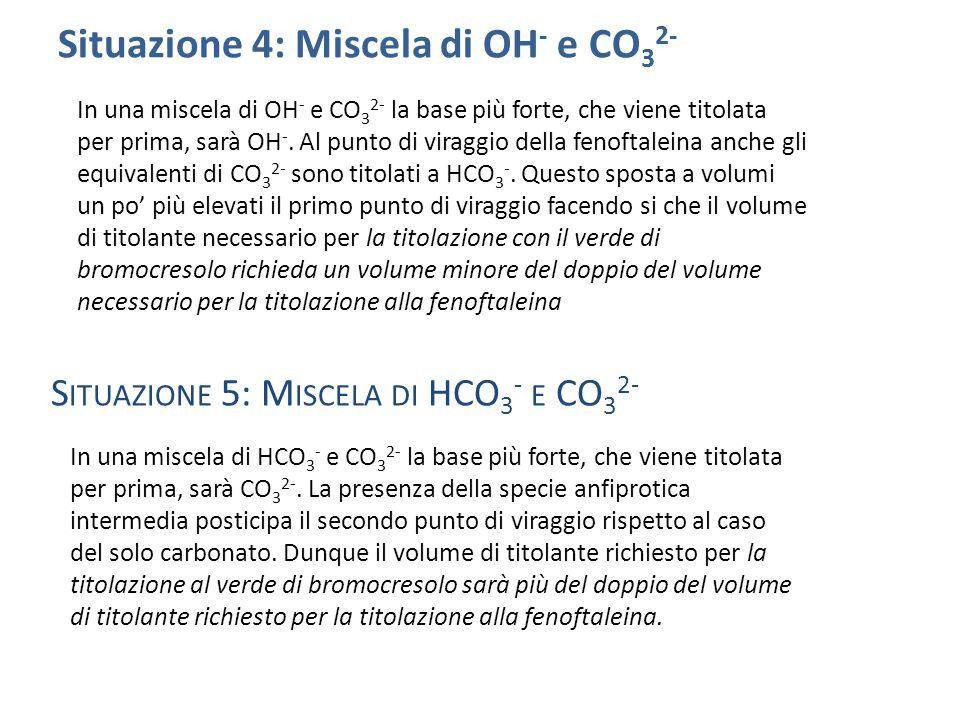 Situazione 4: Miscela di OH - e CO 3 2- In una miscela di OH - e CO 3 2- la base più forte, che viene titolata per prima, sarà OH -.