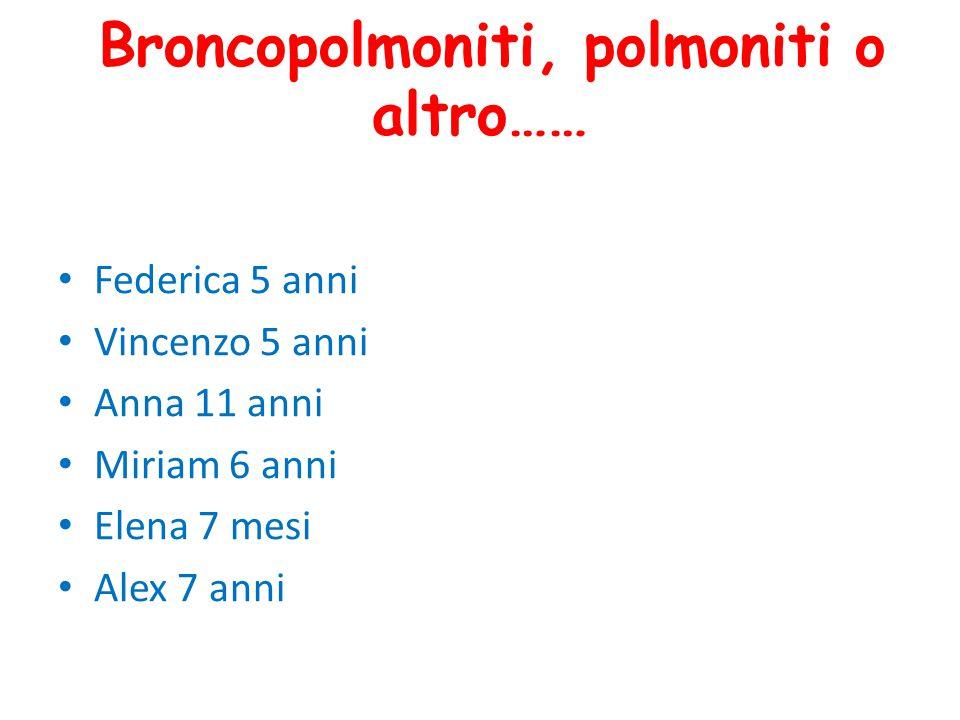 Broncopolmoniti, polmoniti o altro…… Federica 5 anni Vincenzo 5 anni Anna 11 anni Miriam 6 anni Elena 7 mesi Alex 7 anni