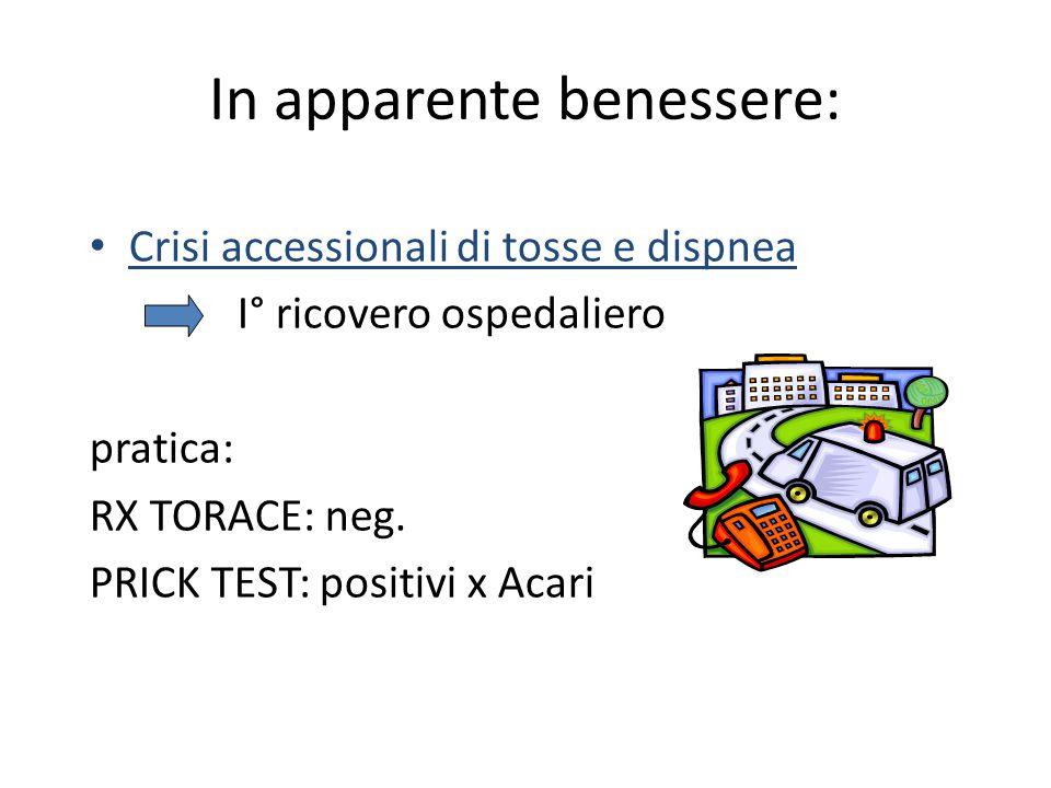 In apparente benessere: Crisi accessionali di tosse e dispnea I° ricovero ospedaliero pratica: RX TORACE: neg. PRICK TEST: positivi x Acari