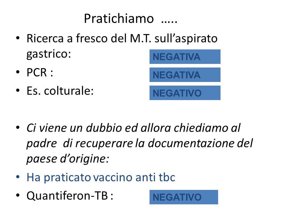 Pratichiamo ….. Ricerca a fresco del M.T. sull'aspirato gastrico: PCR : Es. colturale: Ci viene un dubbio ed allora chiediamo al padre di recuperare l
