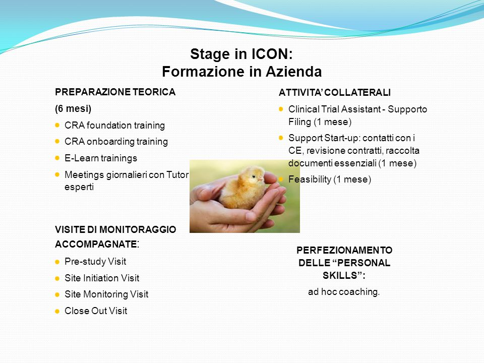 Stage in ICON: Formazione in Azienda VISITE DI MONITORAGGIO ACCOMPAGNATE : Pre-study Visit Site Initiation Visit Site Monitoring Visit Close Out Visit
