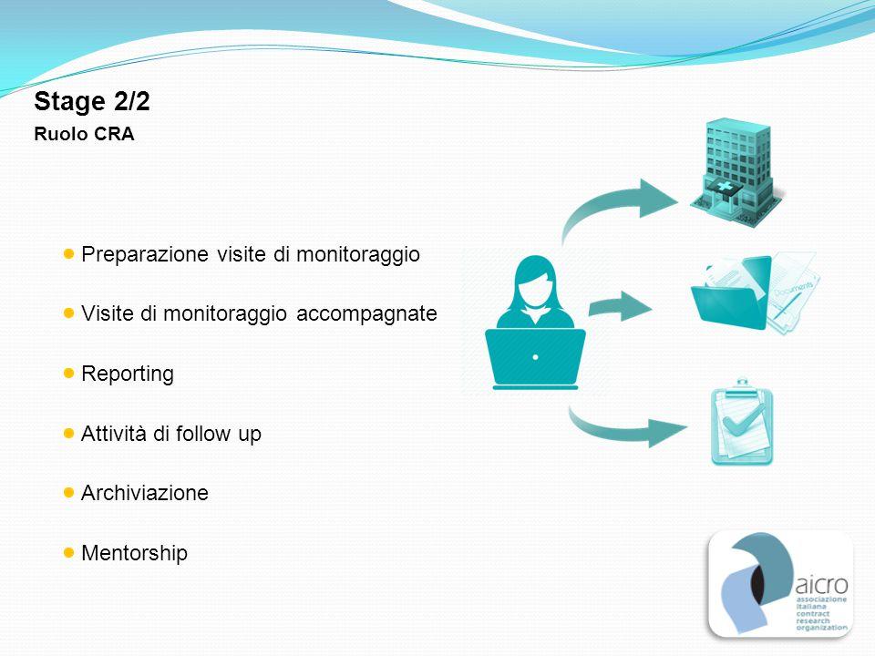 Preparazione visite di monitoraggio Visite di monitoraggio accompagnate Reporting Attività di follow up Archiviazione Mentorship Ruolo CRA Stage 2/2