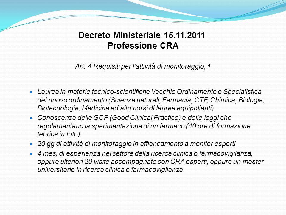 Art. 4 Requisiti per l'attività di monitoraggio, 1 Laurea in materie tecnico-scientifiche Vecchio Ordinamento o Specialistica del nuovo ordinamento (S