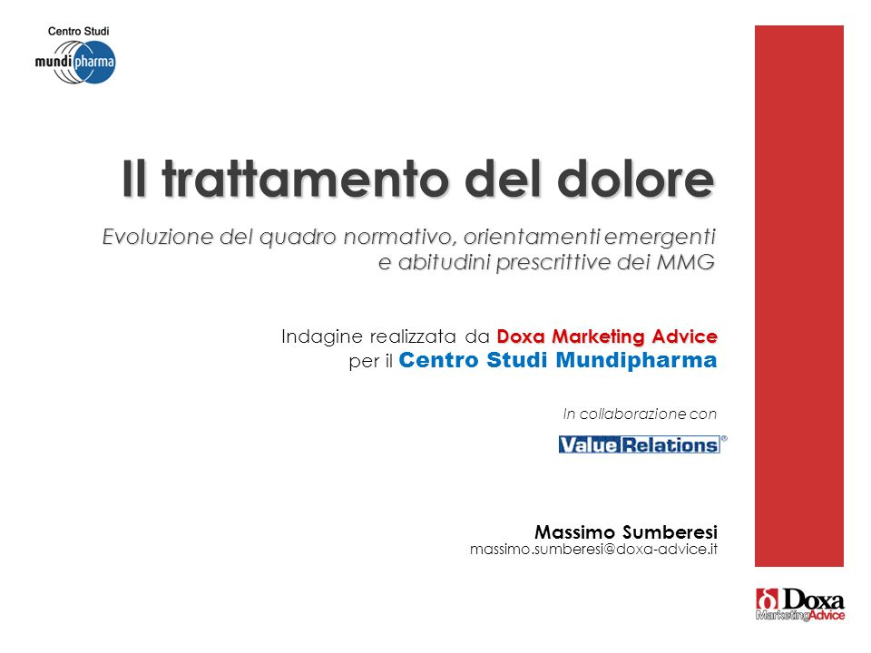 20 Doxa Marketing Advice Indagine realizzata da Doxa Marketing Advice per il Centro Studi Mundipharma In collaborazione con Massimo Sumberesi massimo.