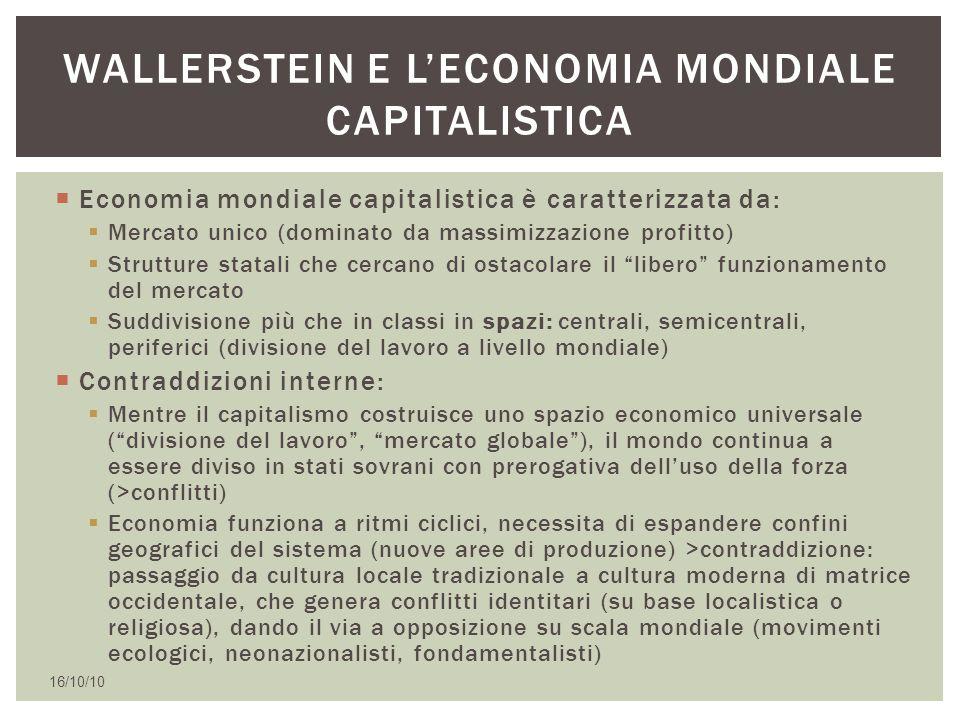  Economia mondiale capitalistica è caratterizzata da:  Mercato unico (dominato da massimizzazione profitto)  Strutture statali che cercano di ostac