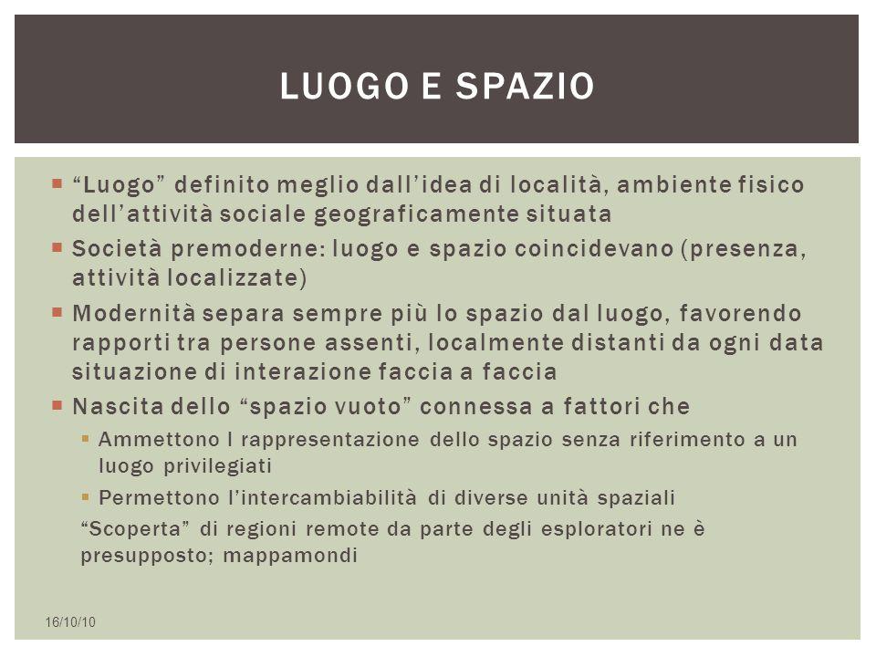 """ """"Luogo"""" definito meglio dall'idea di località, ambiente fisico dell'attività sociale geograficamente situata  Società premoderne: luogo e spazio co"""