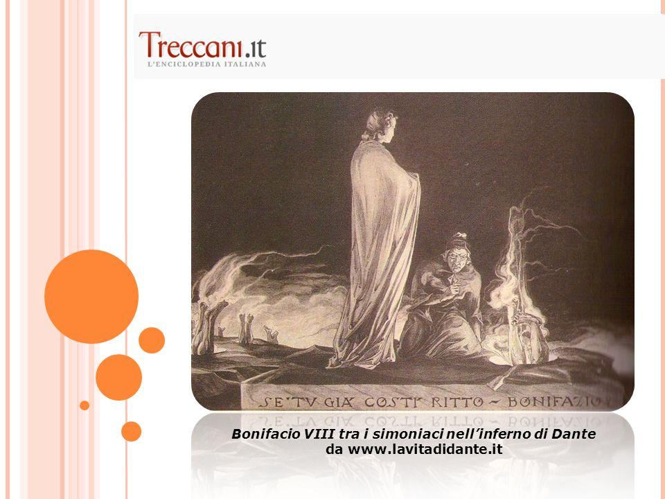 Bonifacio VIII tra i simoniaci nell'inferno di Dante da www.lavitadidante.it