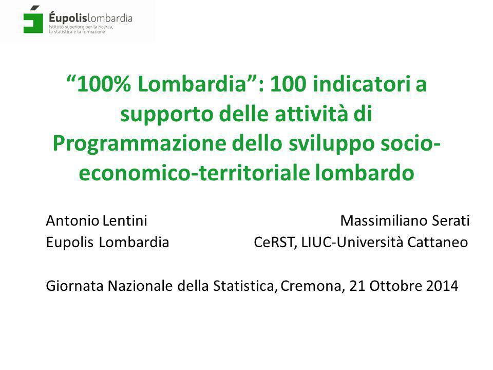 """""""100% Lombardia"""": 100 indicatori a supporto delle attività di Programmazione dello sviluppo socio- economico-territoriale lombardo Antonio Lentini Mas"""