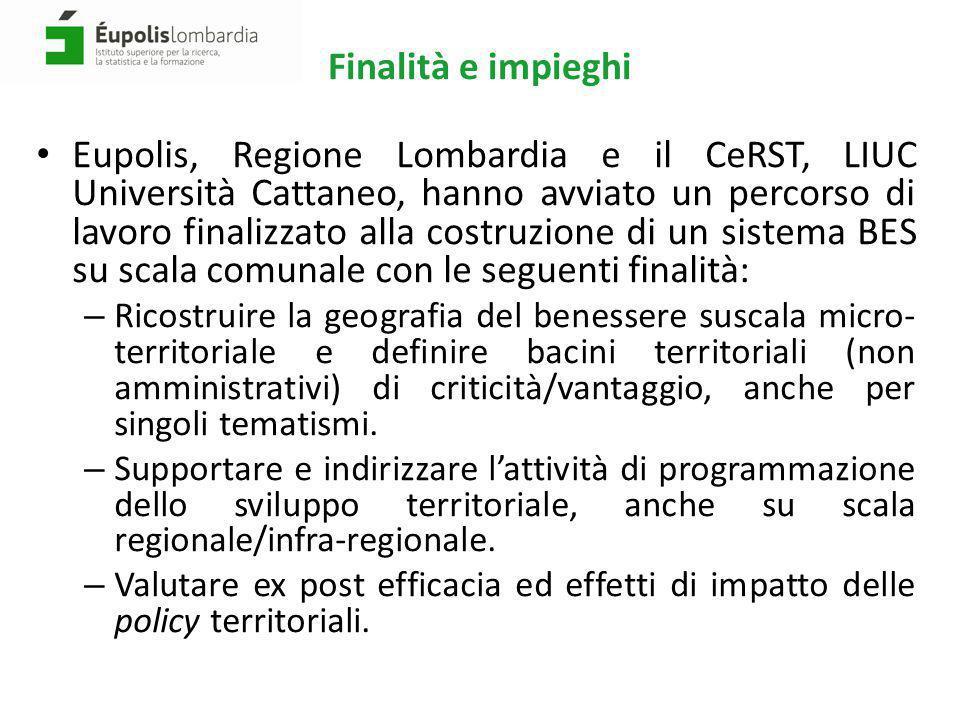 Finalità e impieghi Eupolis, Regione Lombardia e il CeRST, LIUC Università Cattaneo, hanno avviato un percorso di lavoro finalizzato alla costruzione