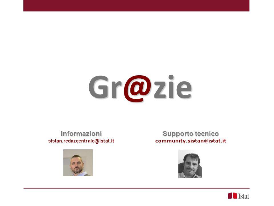 Gr@zie Supporto tecnico community.sistan@istat.itInformazioni sistan.redazcentrale@istat.it