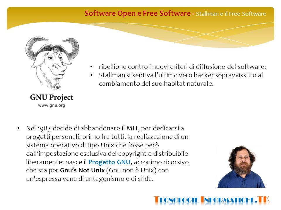 Software Open e Free Software - Stallman e il Free Software ribellione contro i nuovi criteri di diffusione del software; Stallman si sentiva l'ultimo vero hacker sopravvissuto al cambiamento del suo habitat naturale.