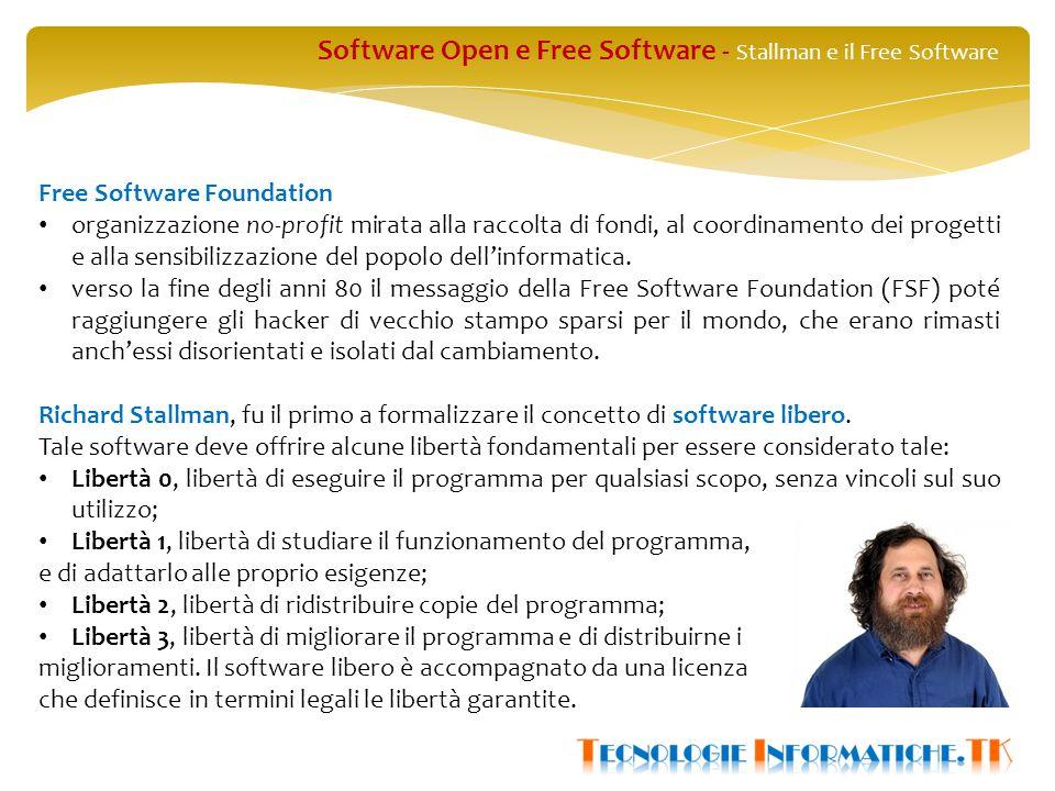 Software Open e Free Software - Stallman e il Free Software Free Software Foundation organizzazione no-profit mirata alla raccolta di fondi, al coordinamento dei progetti e alla sensibilizzazione del popolo dell'informatica.