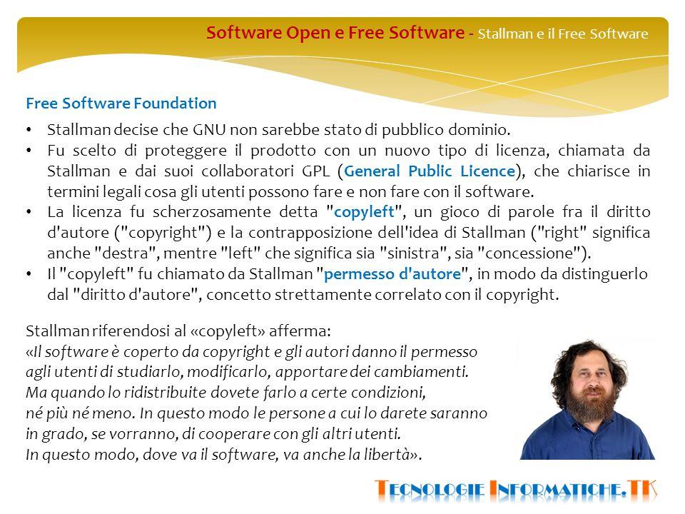 Software Open e Free Software - Stallman e il Free Software Free Software Foundation Stallman decise che GNU non sarebbe stato di pubblico dominio.