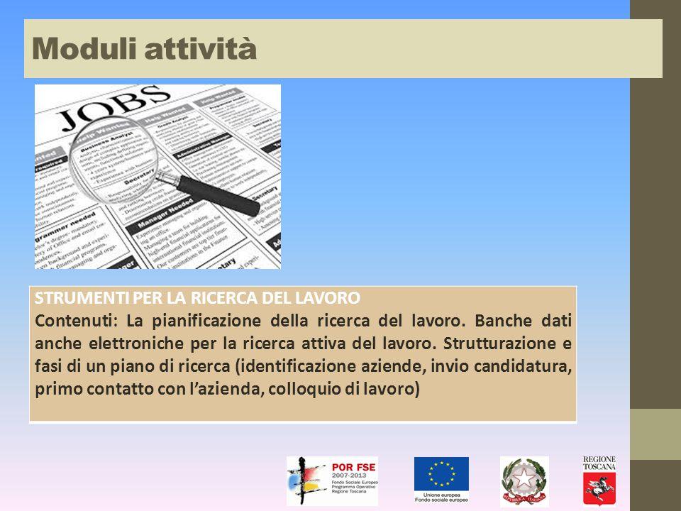 STRUMENTI PER LA RICERCA DEL LAVORO Contenuti: La pianificazione della ricerca del lavoro.