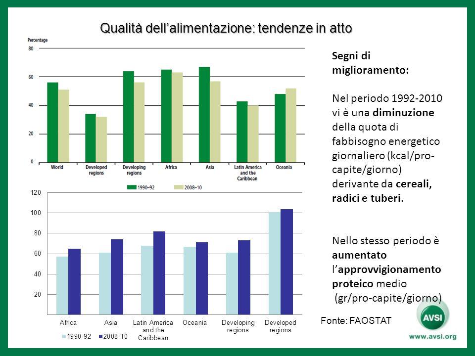 Qualità dell'alimentazione: tendenze in atto Segni di miglioramento: Nel periodo 1992-2010 vi è una diminuzione della quota di fabbisogno energetico giornaliero (kcal/pro- capite/giorno) derivante da cereali, radici e tuberi.