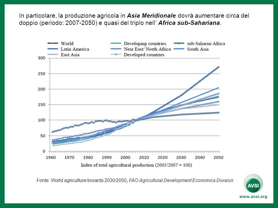 In particolare, la produzione agricola in Asia Meridionale dovrà aumentare circa del doppio (periodo: 2007-2050) e quasi del triplo nell' Africa sub-S