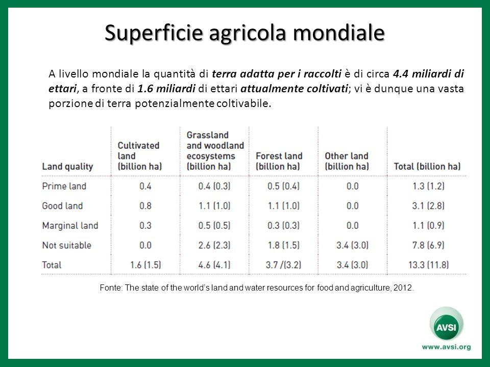 Superficie agricola mondiale A livello mondiale la quantità di terra adatta per i raccolti è di circa 4.4 miliardi di ettari, a fronte di 1.6 miliardi di ettari attualmente coltivati; vi è dunque una vasta porzione di terra potenzialmente coltivabile.