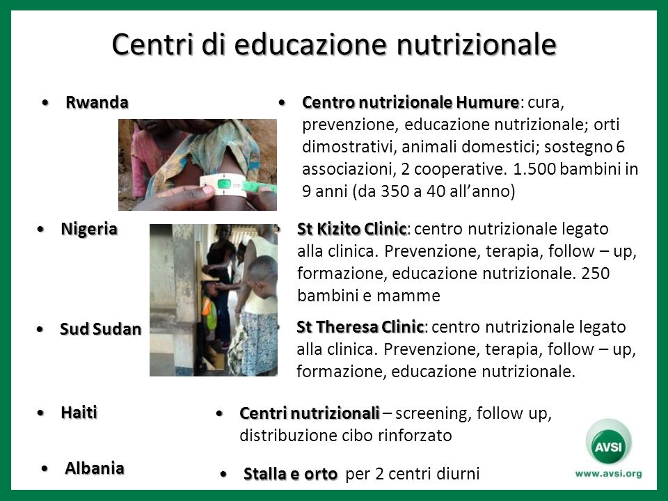 Centri di educazione nutrizionale RwandaRwanda Centro nutrizionale HumureCentro nutrizionale Humure: cura, prevenzione, educazione nutrizionale; orti dimostrativi, animali domestici; sostegno 6 associazioni, 2 cooperative.
