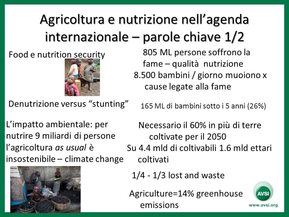 Agricoltura e nutrizione nell'agenda internazionale – parole chiave 1/2 Food e nutrition security 8.500 bambini / giorno muoiono x cause legate alla fame Denutrizione versus stunting L'impatto ambientale: per nutrire 9 miliardi di persone l'agricoltura as usual è insostenibile – climate change Necessario il 60% in più di terre coltivate per il 2050 Su 4.4 mld di coltivabili 1.6 mld ettari coltivati 805 ML persone soffrono la fame – qualità nutrizione 1/4 - 1/3 lost and waste 165 ML di bambini sotto i 5 anni (26%) Agriculture=14% greenhouse emissions