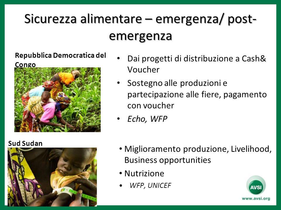 Sicurezza alimentare – emergenza/ post- emergenza Repubblica Democratica del Congo Sud Sudan Miglioramento produzione, Livelihood, Business opportunit