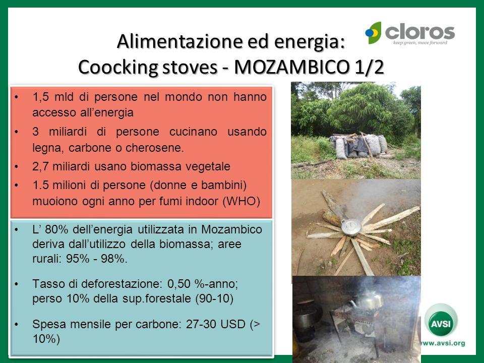 Alimentazione ed energia: Coocking stoves - MOZAMBICO 1/2 1,5 mld di persone nel mondo non hanno accesso all'energia 3 miliardi di persone cucinano usando legna, carbone o cherosene.