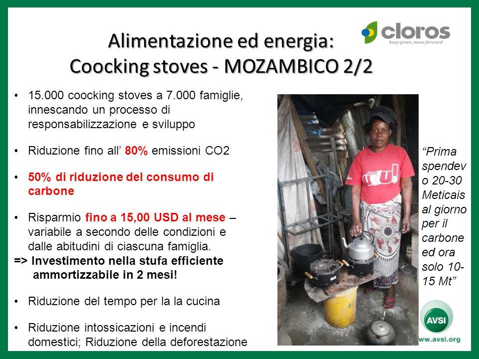 15.000 coocking stoves a 7.000 famiglie, innescando un processo di responsabilizzazione e sviluppo Riduzione fino all' 80% emissioni CO2 50% di riduzi