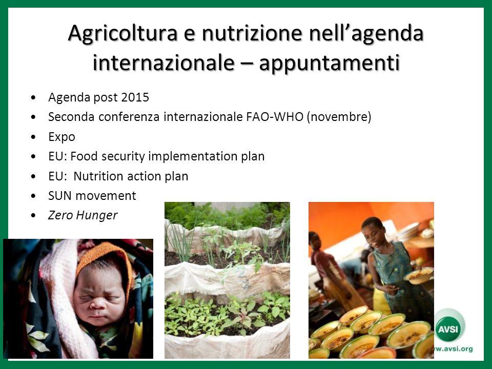 Agricoltura e nutrizione nell'agenda internazionale – appuntamenti Agenda post 2015 Seconda conferenza internazionale FAO-WHO (novembre) Expo EU: Food security implementation plan EU: Nutrition action plan SUN movement Zero Hunger