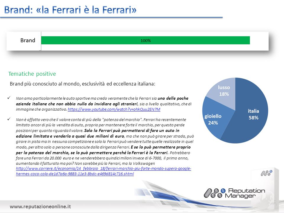 www.reputazioneonline.it Tematiche positive Non amo particolarmente le auto sportive ma credo veramente che la Ferrari sia una delle poche aziende italiane che non abbia nulla da invidiare agli stranieri, sia a livello qualitativo, che di immagine che organizzativo.