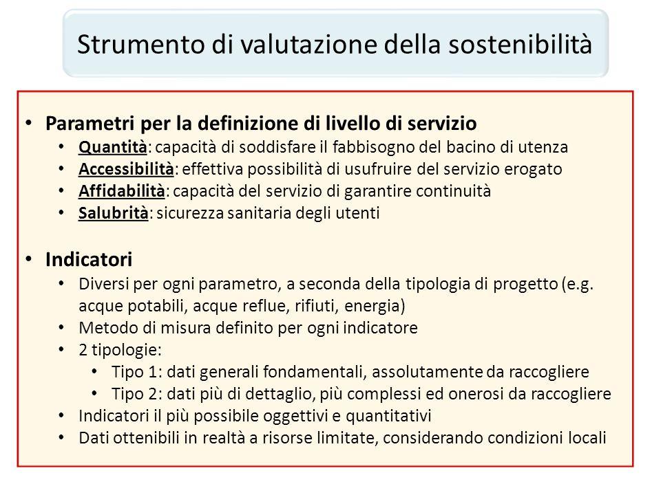 Strumento di valutazione della sostenibilità Parametri per la definizione di livello di servizio Quantità: capacità di soddisfare il fabbisogno del ba