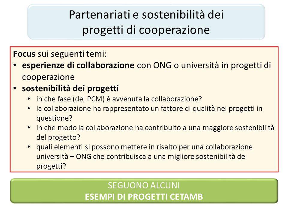 SEGUONO ALCUNI ESEMPI DI PROGETTI CETAMB Partenariati e sostenibilità dei progetti di cooperazione Focus sui seguenti temi: esperienze di collaborazio