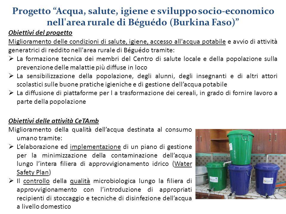 Obiettivi del progetto Miglioramento delle condizioni di salute, igiene, accesso all'acqua potabile e avvio di attività generatrici di reddito nell'ar