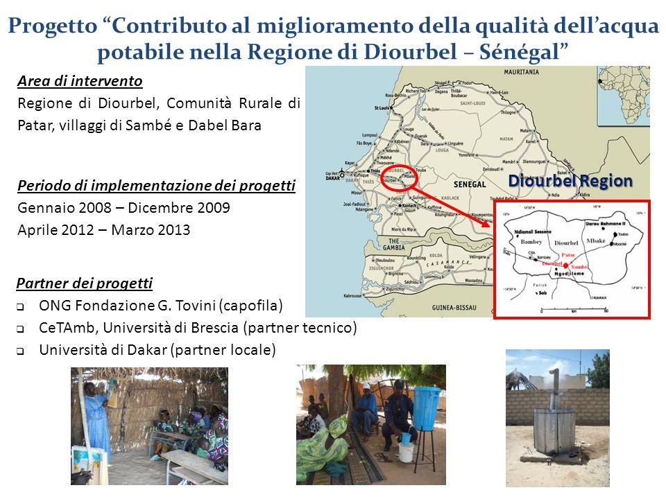 """Progetto """"Contributo al miglioramento della qualità dell'acqua potabile nella Regione di Diourbel – Sénégal"""" Area di intervento Regione di Diourbel, C"""