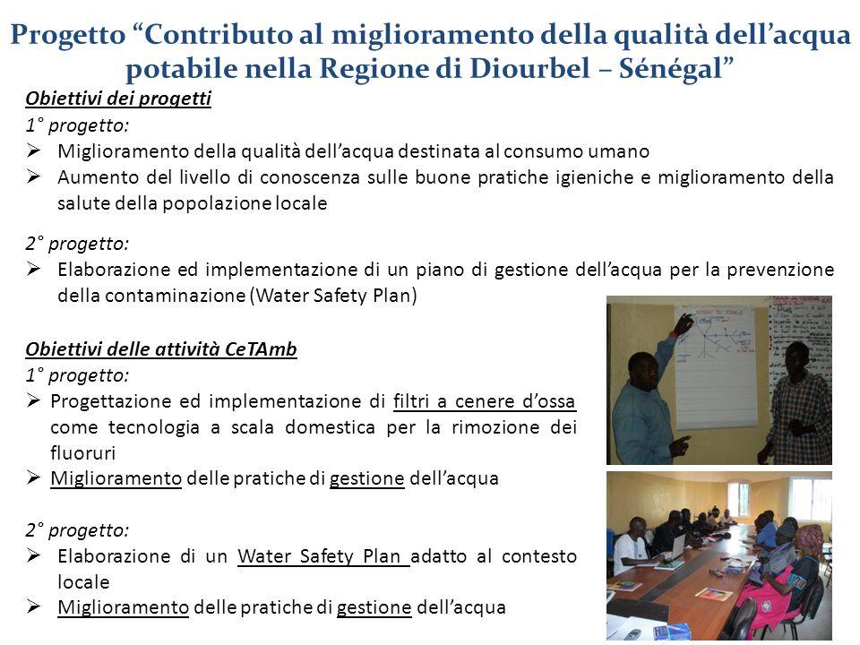 Obiettivi dei progetti 1° progetto:  Miglioramento della qualità dell'acqua destinata al consumo umano  Aumento del livello di conoscenza sulle buon