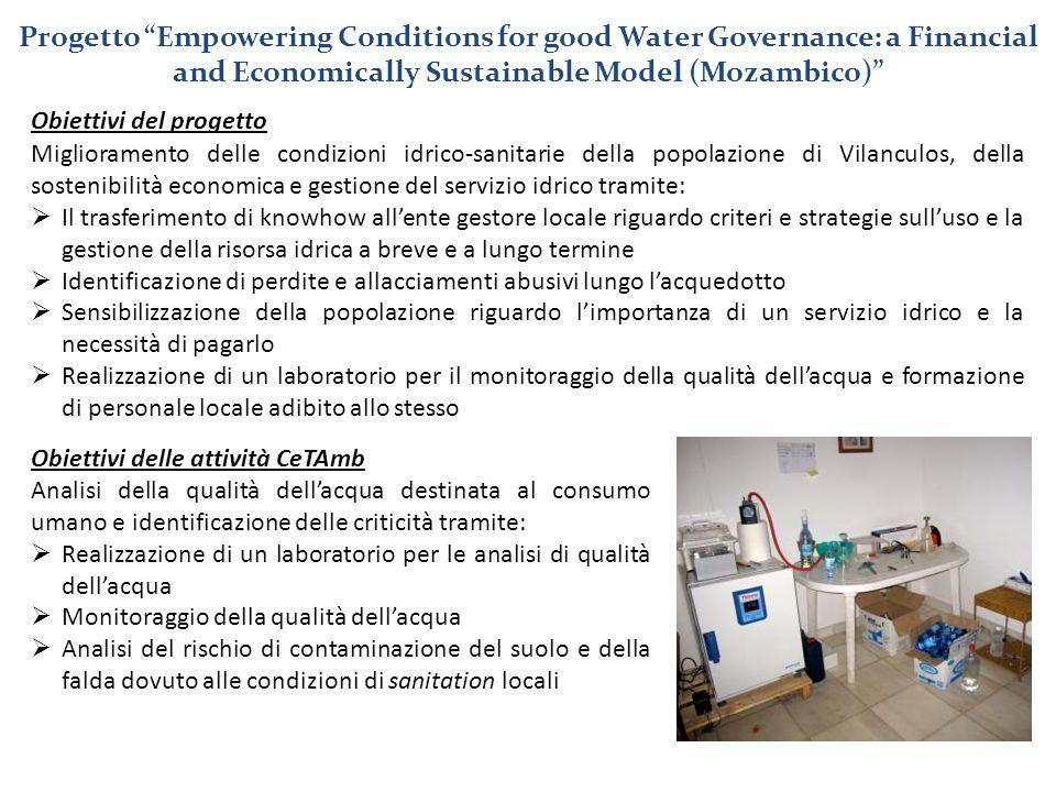 Obiettivi del progetto Miglioramento delle condizioni idrico-sanitarie della popolazione di Vilanculos, della sostenibilità economica e gestione del s